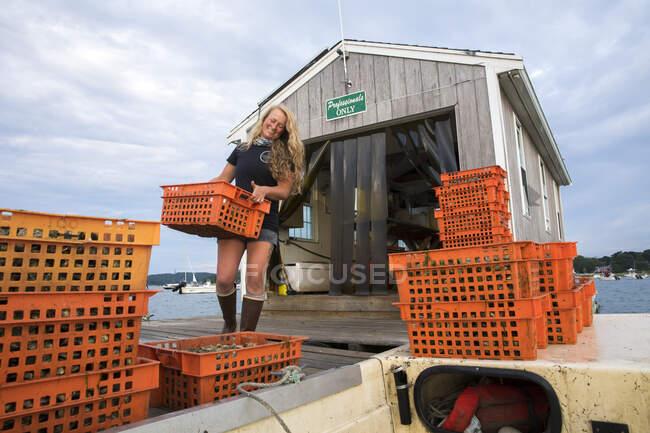 Productora de mariscos hembra que lleva cajas de ostras naranjas - foto de stock