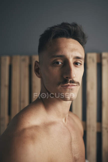 Portrait of a young boy with a moustache — Stock Photo