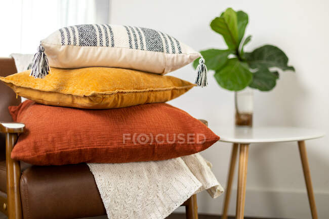 Fall textiles, sof pillows  in Living Room — Stock Photo