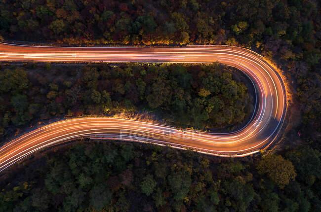 Повітряний вид на дорогу в лісі на природному тлі — стокове фото