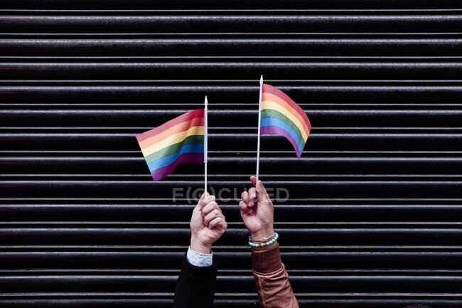 Dos manos con banderas de orgullo. fondo negro. plano horizontal - foto de stock