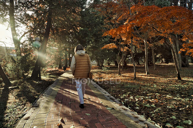 Young woman walking in the autumn park — Stock Photo