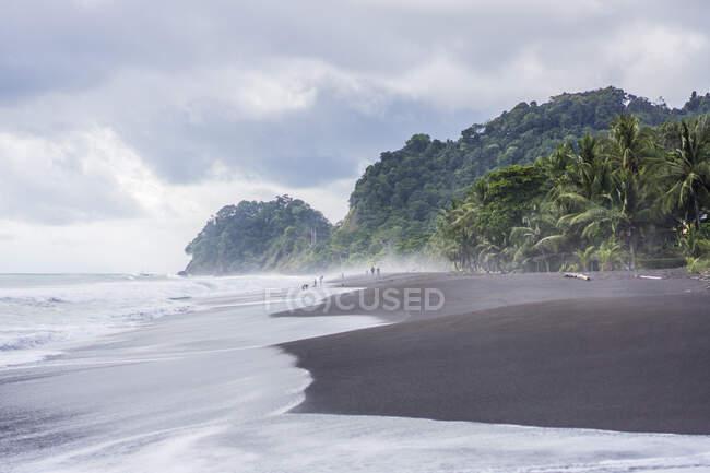 Playa de arena negra, Playa Hermosa, Costa Rica, Centroamérica 2015 - foto de stock