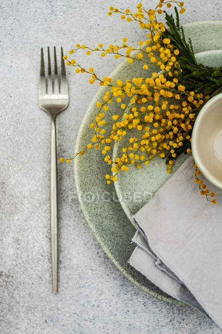 Table setting with bright yellow mimosa flowers and grey tableware on concrete background — Stock Photo