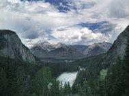 Gama de la montaña, río y bosque bajo cielo nublado - foto de stock