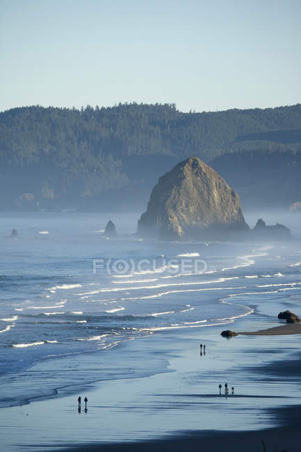 Scenic view Haystack Rock, Cannon Beach, Oregon, people in background — Stock Photo