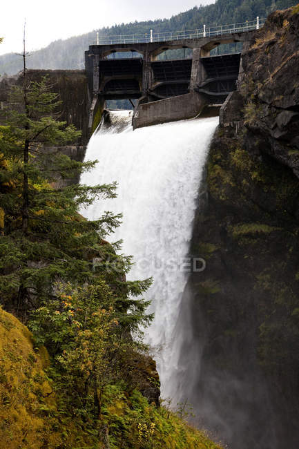 Glines Canyon Dam with flowing water and trees — Stock Photo