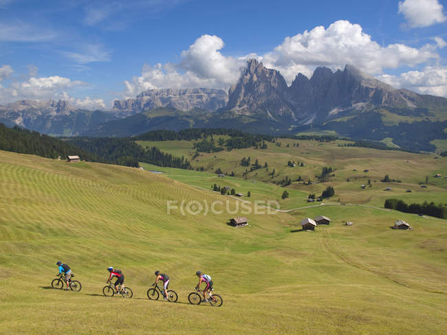 Four mountain bikers riding downhill grassy slope at Seiser Alm — Stock Photo