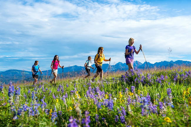 Female hiking group heading up mountain top hiking path — Stock Photo