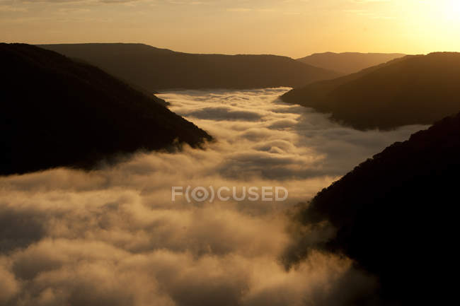 Fog surrounding hills — Stock Photo