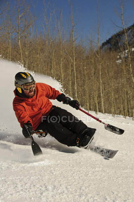 Man skiing in Crested Butte, CO, selective focus — Stock Photo