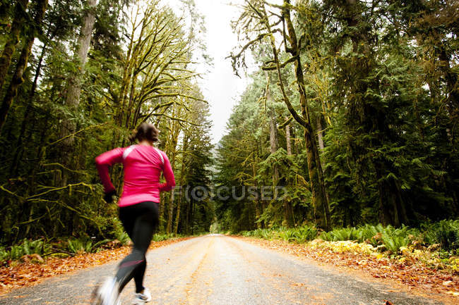 Athletic adult woman jogging on road through forest near Lake Crescent, Washington State. — Stock Photo