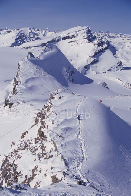 Men descending peak on ski tour along world famous Wapta Traverse on Wapta Icefields — Stock Photo