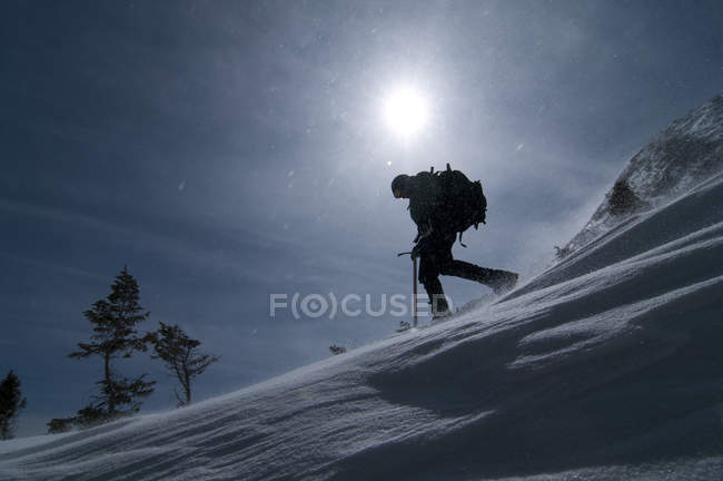 Snow ranger hiking downhill in afternoon sunshine and wind — Stock Photo