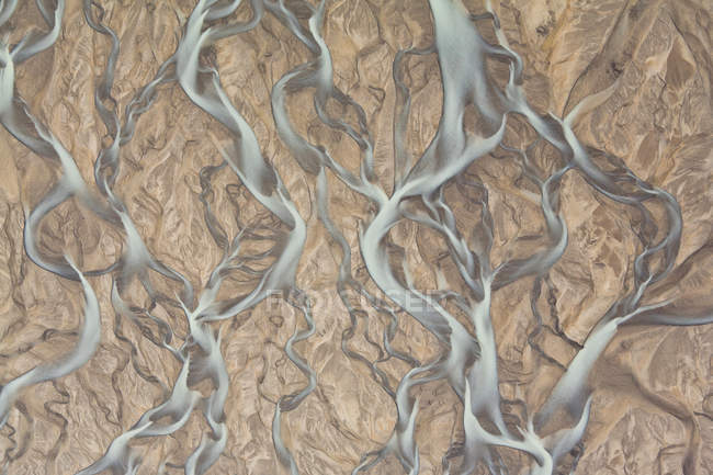 Aerial view of river flowing stream at rocky area — Stock Photo