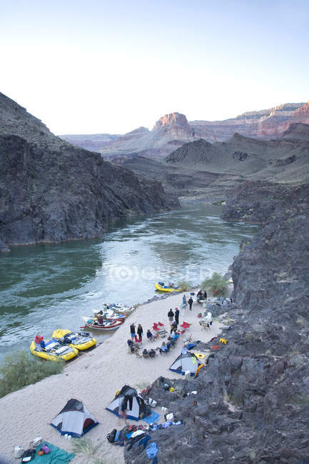 High angle view of people rafting at grand canyon national park — Stock Photo