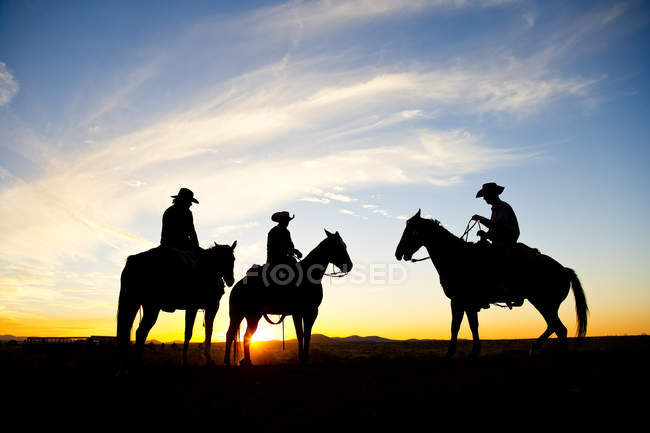 Silhouetted group of cowboys sitting on ridge line while sun setting — Stock Photo