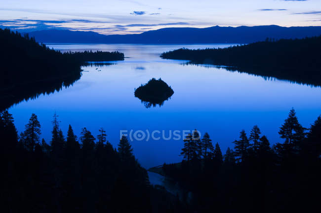 Emerald Bay is illuminated with blue light at dawn, Lake Tahoe, CA — Stock Photo