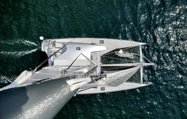 Aerial view of luxury catamaran in bright sunlight — Stock Photo