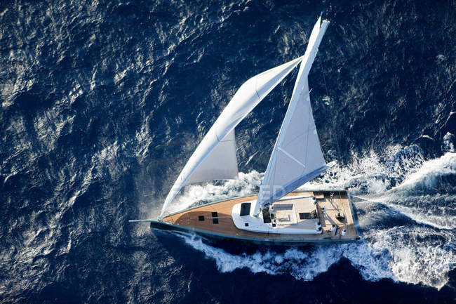 Elevated view of nacira 67sailing boat — Stock Photo