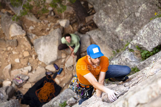 Men climbing on Cob Rock in Boulder Canyon Colorado — Stock Photo