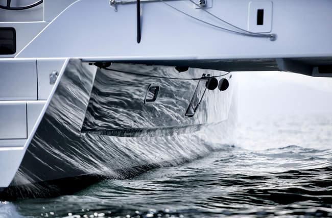 Detail of luxury catamaranon water — Stock Photo