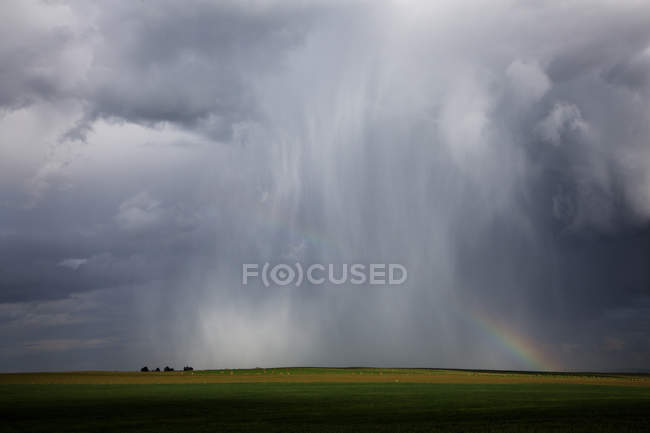 Storm Clouds And Rainbow Over Green Grasslands — Stock Photo