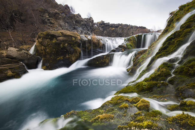 Long exposure of waterfalls water falling down — Stock Photo
