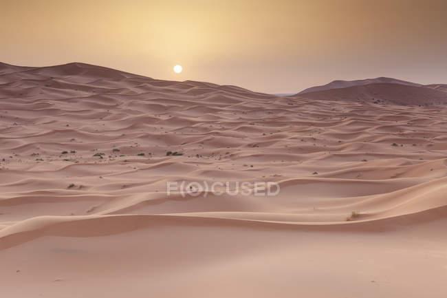 Coucher de soleil sur les dunes de sable rouge dans le désert du Sahara, Maroc — Photo de stock