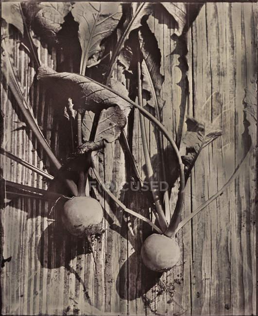 Barbabietole fresche raccolte sul tavolo in legno rustico, vista dall'alto — Foto stock