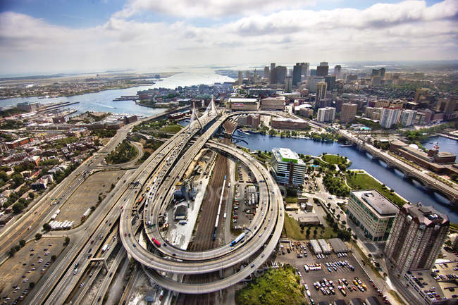 Aerial view of Boston city roads traffic — Stock Photo