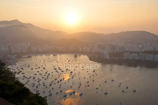 View Of Botafogo Bay with ships during sunset — Stock Photo