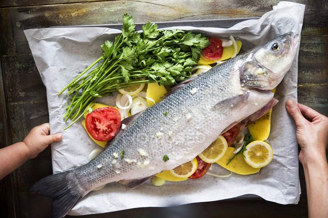 Tiny baby and female hands holding tray with fish, vegetables and herbs — Stock Photo