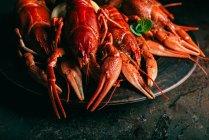 Купа crayfishes скибочками лимона і м'яти на тарілку, на стіл — стокове фото