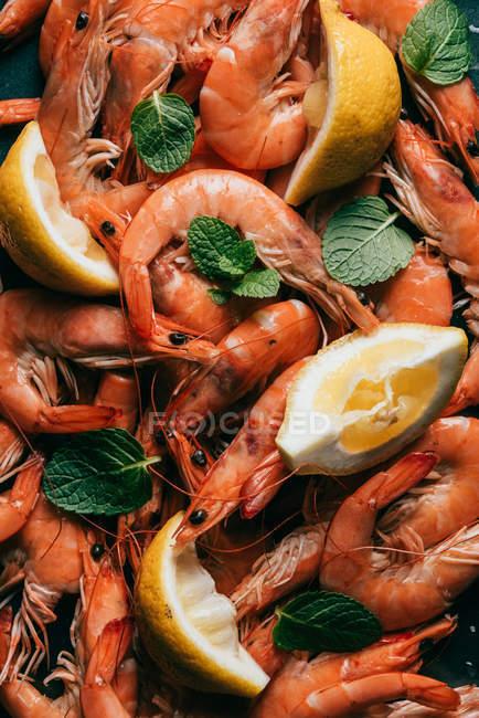 Vista elevada de la pila de camarones, rodajas de limón y hojas de menta - foto de stock