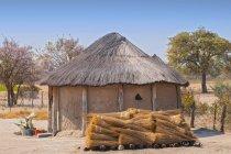Типичный соломенной крышей африканских круглые хаты в Ботсване — стоковое фото
