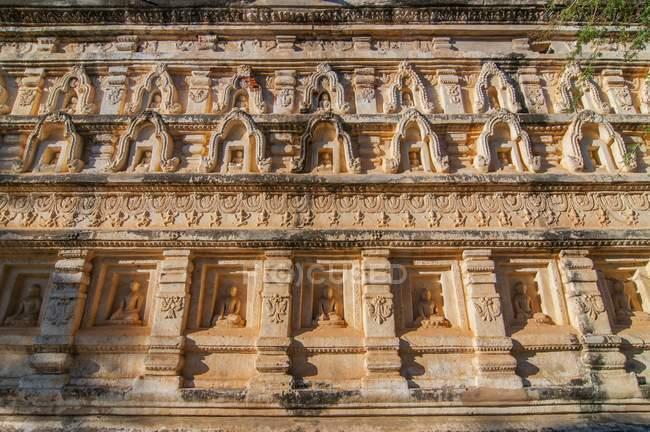 Mur de la pagode de Mahabodhi dans Old Bagan, Birmanie — Photo de stock