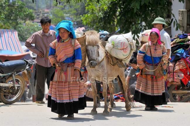 Hmong Frauen in traditioneller Kleidung mit Pony am Markt von Bac Ha, Vietnam — Stockfoto