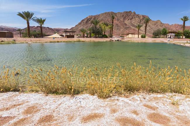 Lake at Timna National Park in southern Negev desert in Israel. — Stock Photo
