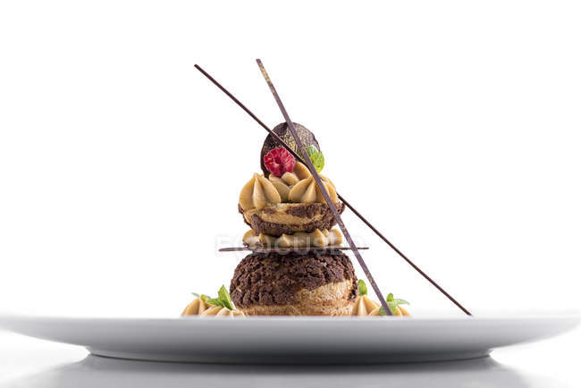 Торт Кавовий з шоколаду прикрас на тарілці — стокове фото