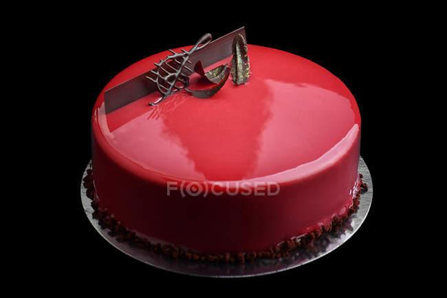 Kuchen Mit Roter Glasur Und Schokolade Musik Wichtige Dekoration