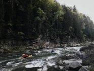Kayaks, baignade sur la rivière de la forêt — Photo de stock