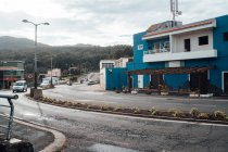 Street scene of small town at mountain terrain — Stock Photo