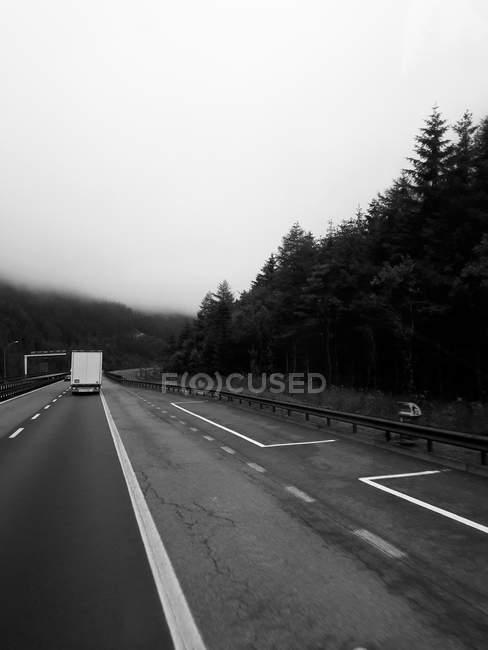 Débarrasser le camion sur route asphaltée qui longe le terrain montagneux brumeux — Photo de stock