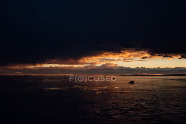 Scenic marine with dark clouds at sunset — Stock Photo