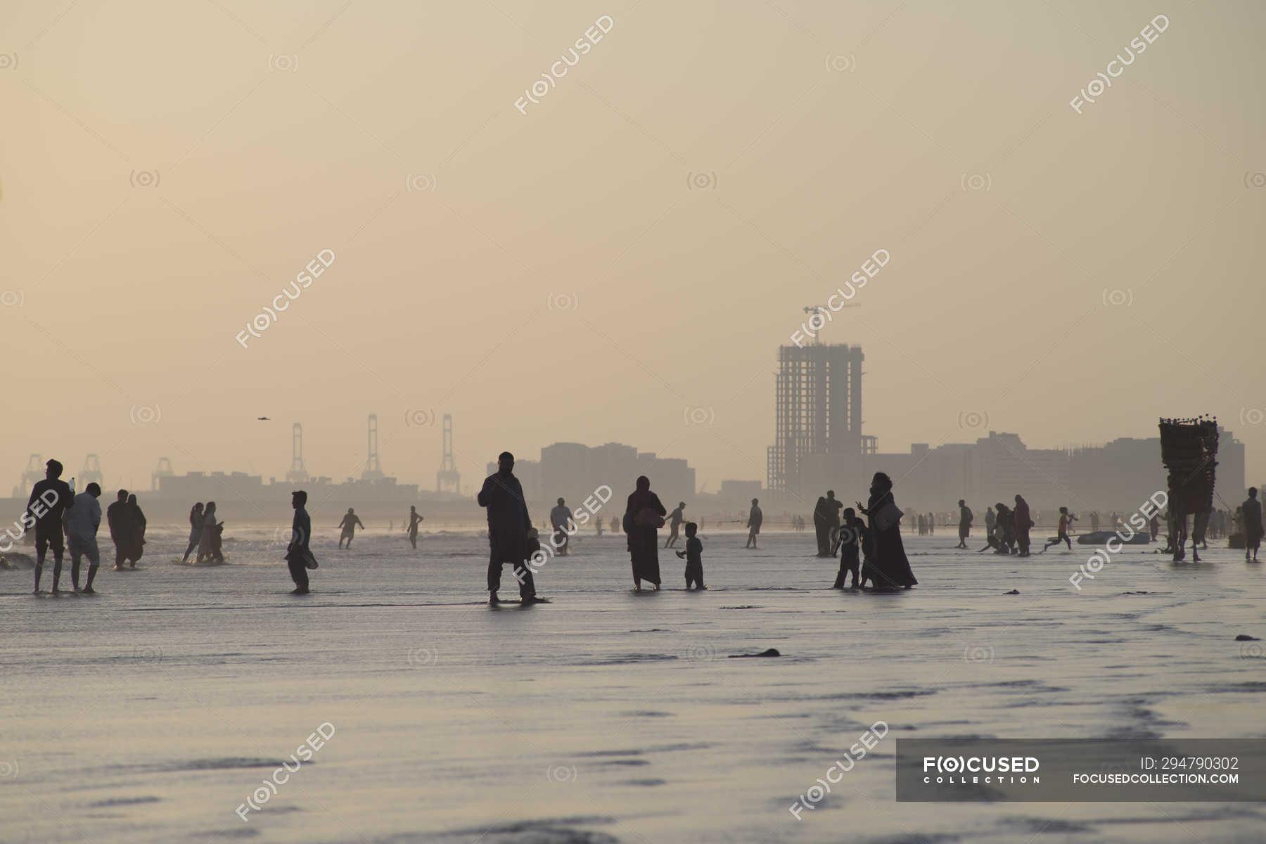 Lively evening atmosphere of Clifton Beach, Karachi