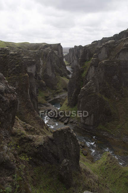 Fjarrgljfur, a canyon in south east Iceland  100m deep and about two kilometers long. - foto de stock