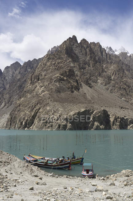 Boats on Lake Attabad, Upper Hunza, created by massive landslide in 2010 — стоковое фото