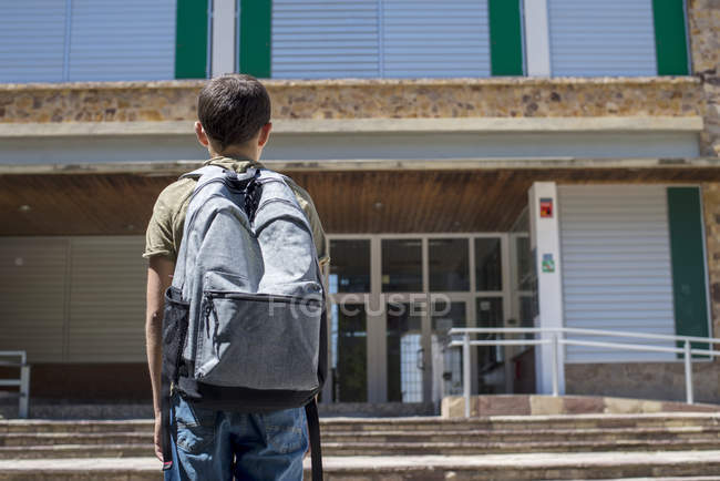 Rear view of schoolboy standing and looking at school building — Stock Photo