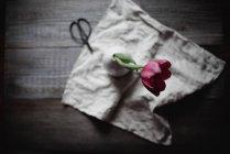 Vista superior del tulipán rojo en jarrón sobre mesa rústica - foto de stock